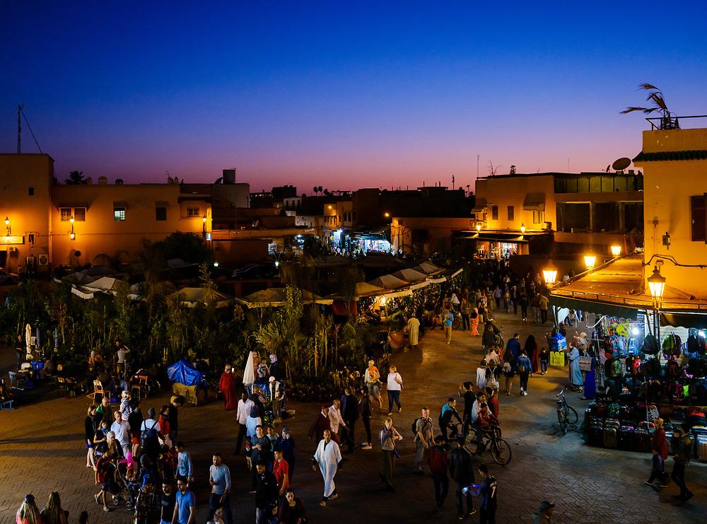 MARRAKESH, MOROCCO - CIRCA APRIL 2018: View of the square Jemaa el-Fnaa, at night in Marrakesh
