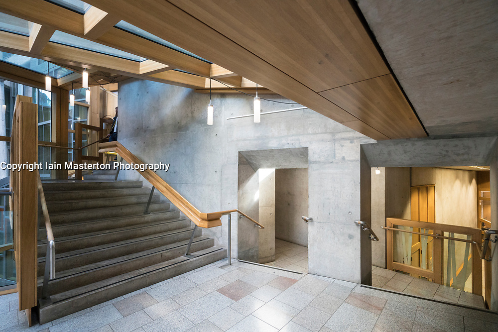 View of interior architecture of Scottish Parliament Building in Holyrood, Edinburgh, Scotland, United Kingdom