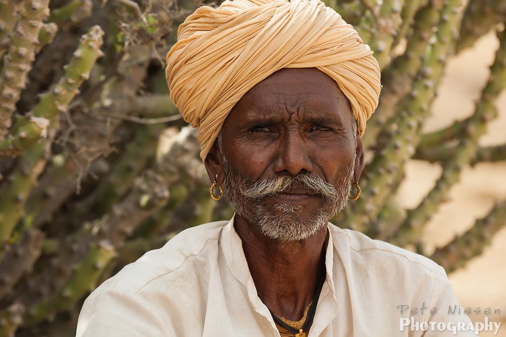 Portrait of Rajasthan gypsy man in turban