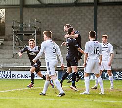 Falkirk's David McCracken cele scoring their second goal.<br /> Raith Rovers 2 v 4 Falkirk, Scottish Championship game today at Starks Park.<br /> © Michael Schofield.