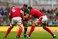 Rugby Union - 2019 pre-Rugby World Cup warm-up (Guinness Summer Series) - Ireland vs. Wales<br /> <br /> Jack Conan (Ireland) is tackled by Aaron Wainwright (Wales) and Alun Wyn Jones (c) (Wales) at The Aviva Stadium.<br /> <br /> COLORSPORT/KEN SUTTON
