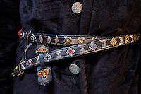 Mongolie, province de Bayan-Ulgii, région de l'ouest, detail d'un costume kazakh, ceinture // Mongolia, Bayan-Ulgii province, western Mongolia, detail of a Kazakh costum, belt