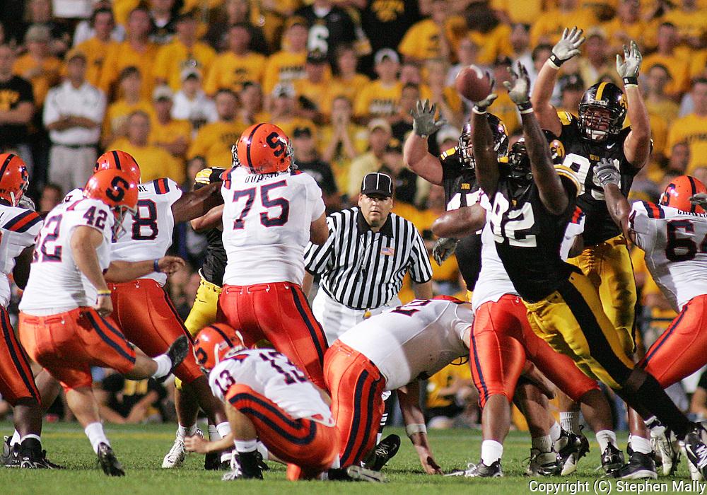 08 SEPTEMBER 2007: Iowa's Allen Reisner (82) blocks a field goal attempt by Syracuse in Iowa's 35-0 win over Syracuse at Kinnick Stadium in Iowa City, Iowa on September 8, 2007.