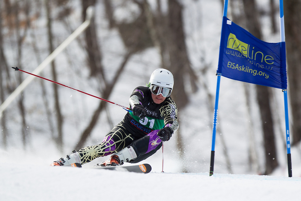 Carl Oscar Green Bredengen of Saint Michael's College, skis during the first run of the men's giant slalom at the Dartmouth Carnival at Dartmouth Skiway on February 7, 2014 in Lyme, NH. (Dustin Satloff/EISA)