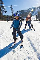 Family skiing at Alpine Meadows, Lake Tahoe, California