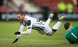 Dunfermline's Ryan Wallace brought down by Ayr United's keeper Greg Fleming. <br /> Dunfermline 3 v 2 Ayr United, Scottish League One played at East End Park, 13/2/2016.