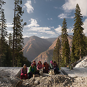 Women working on road construction. In the Himalaya.