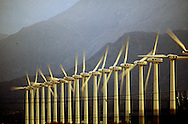 A 27.4 MG FILE FROM FILM OF:.Wind mills on a wind farm near Palm Springs California. Photo by Dennis Brack