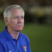 U.S. head coach Tom Sermanni is seen after a women's soccer International friendly match between Brazil and the United States National Team, at the Florida Citrus Bowl  on Sunday, November 10, 2013 in Orlando, Florida. The U.S won the game by a score of 4-1.  (AP Photo/Alex Menendez)