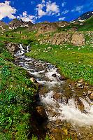 Waterfall and mountain streams, American Basin, San Juan Mountains (range of the Rocky Mountains), Southwest Colorado USA