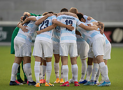 FC Helsingørs spillere gør klar til kampen i 1. Division mellem FC Helsingør og Vendsyssel FF den 18. september 2020 på Helsingør Stadion (Foto: Claus Birch).