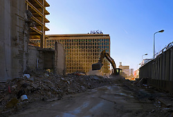 BRUSSELS, BELGIUM - APRIL-04-2007 -  A construction / demolition site where an old existing building is being demolished to make way for a new 35 story skyscraper. (Photo © Jock Fistick)
