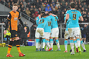 Derby County celebrate Derby County's Jacob Butterfield scoring for a second time to go 2-0 up  during the Sky Bet Championship match between Hull City and Derby County at the KC Stadium, Kingston upon Hull, England on 27 November 2015. Photo by Ian Lyall.