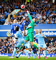 Joe Hart of Manchester City punches the ball clear ahead of Everton's Romelu Lukaku - Mandatory byline: Matt McNulty/JMP - 07966386802 - 23/08/2015 - FOOTBALL - Goodison Park -Everton,England - Everton v Manchester City - Barclays Premier League
