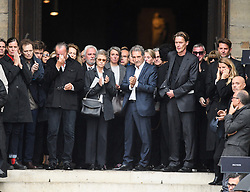 Charlotte Rampling, Jean-Jacques Bourdin leaving the funeral service for late photographer Peter Lindbergh held at Saint Sulpice church in Paris, France on September 24, 2019. Photo by ABACAPRESS.COM