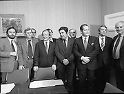 An Taoiseach Meets SDLP Delegation.  (N60)..1981..06.02.1981..02.06.1981..6th February 1981..At Government Buildings ,Leinster House Dublin, An Taoiseach, Mr Charles Haughey, met with a delegation from the SDLP. The delegation was led by Mr John Hume MEP..Image taken at the end of the meeting shows (L-R), Mr Hugh Logue, Mr Seamus Mallon,Mr Frank Feeley,Taoiseach Mr Charles Haughey,Mr john Hume,Mr Michael Canavan, Mr Brian Lenihan,Minister for Foreign Affairs, Mr Austin Currie and Mr John Wilson, Minister for Education.