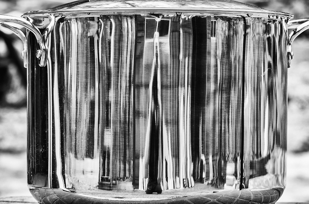 Reflection on the surface of a stainless steel pot, Clallam County, WA. USA