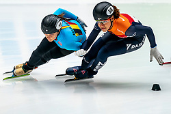 Georgie Dalrymple and Hanne Desmet BEL in action on the 1000 meter during ISU World Cup Finals Shorttrack 2020 on February 14, 2020 in Optisport Sportboulevard Dordrecht.