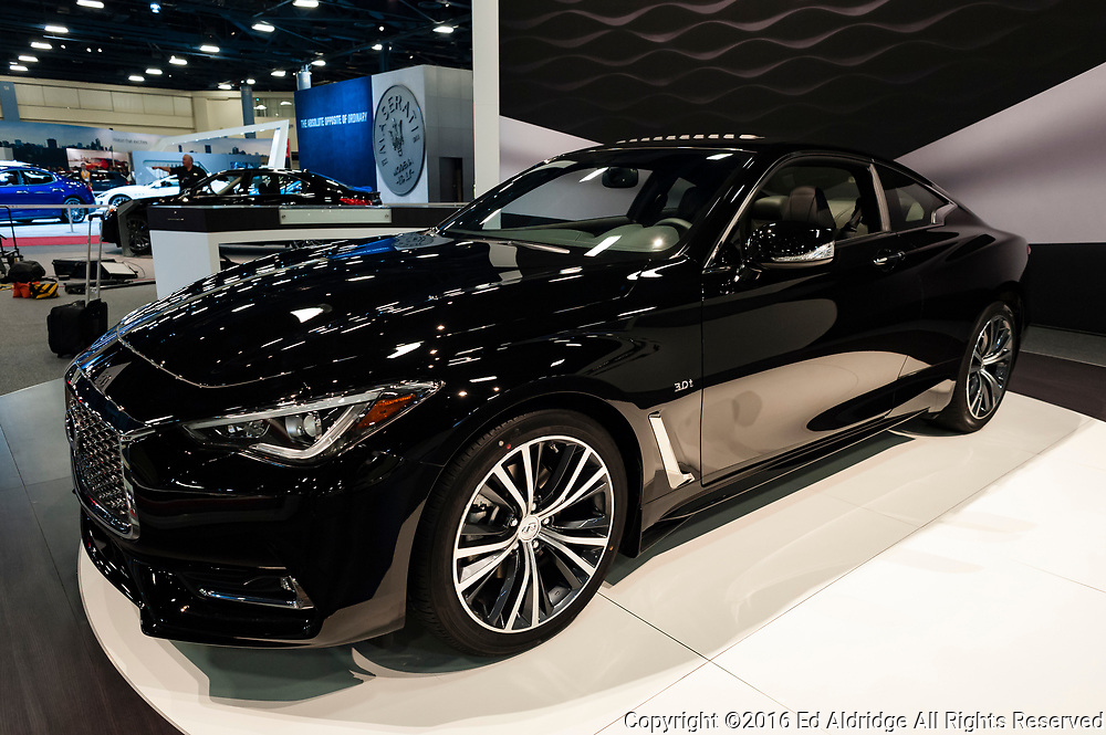 Miami, USA - September 10, 2016: Infinity Q60 coupe on display during the Miami International Auto Show at the Miami Beach Convention Center.