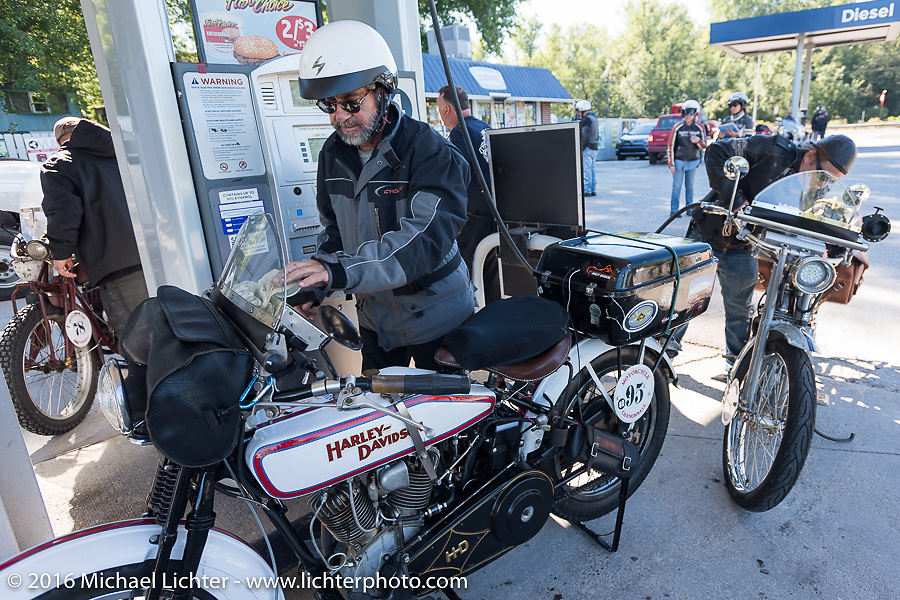 Vinnie Grasser of Florida with his 1916 Harley-Davidson during the Motorcycle Cannonball Race of the Century. Stage-3 from Morgantown, WV to Chillicothe, OH. USA. Monday September 12, 2016. Photography ©2016 Michael Lichter.