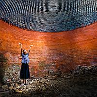 In an abandoned brick kiln in Cambodia