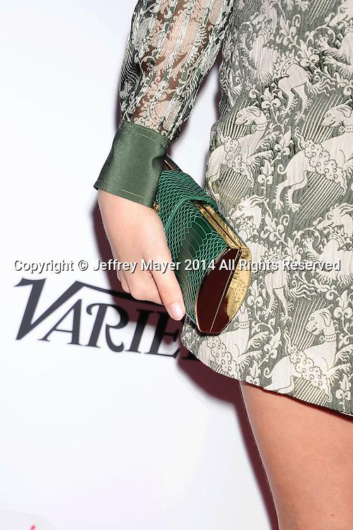 SANTA MONICA, CA- OCTOBER 26: Actress Natasha Bassett (handbag detail) at the 3rd Annual Australians in Film Awards Benefit Gala at the Fairmont Miramar Hotel on October 26, 2014 in Santa Monica, California.