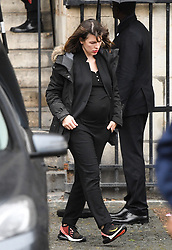 Milla Jovovich leaving the funeral service for late photographer Peter Lindbergh held at Saint Sulpice church in Paris, France on September 24, 2019. Photo by ABACAPRESS.COM