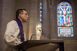 1 March 2020, Bethlehem: Rev. Munther Isaac preaches during Sunday service in the Evangelical Lutheran Christmas Church in Bethlehem.