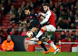 Sead Kolasinac of Arsenal challenges Suso of AC Milan - Mandatory by-line: Robbie Stephenson/JMP - 15/03/2018 - FOOTBALL - Emirates Stadium - London, England - Arsenal v AC Milan - UEFA Europa League Round of 16, Second leg