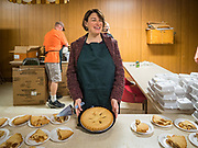 28 NOVEMBER 2019 - DES MOINES, IOWA: US Senator AMY KLOBUCHAR (D-MN) with the desserts at the South Des Moines Community Center. Sen Klobuchar served Thanksgiving lunches to people at the center. Sen. Klobuchar is campaigning to be the Democratic nominee for the US Presidency. Iowa holds the first selection event of the Presidential election cycle. The Iowa caucuses are Feb. 3, 2020.               PHOTO BY JACK KURTZ