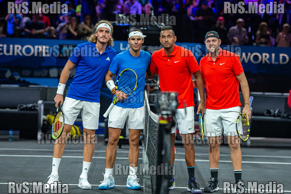 GENEVA, SWITZERLAND - SEPTEMBER 21: Stefanos Tsitsipas of Team Europe, Rafael Nadal of Team Europe and Nick Kyrgios of Team World, Jack Sock of Team World poses for photo during Day 2 of the Laver Cup 2019 at Palexpo on September 21, 2019 in Geneva, Switzerland. The Laver Cup will see six players from the rest of the World competing against their counterparts from Europe. Team World is captained by John McEnroe and Team Europe is captained by Bjorn Borg. The tournament runs from September 20-22. (Photo by Monika Majer/RvS.Media)