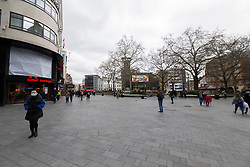 © Licensed to London News Pictures. 15/03/2020. London, UK. Leicester Square appears quiet this afternoon . New cases of the COVID-19 strain of Coronavirus are being reported daily as the government outlines it's plans for controlling the outbreak. Photo credit: George Cracknell Wright/LNP