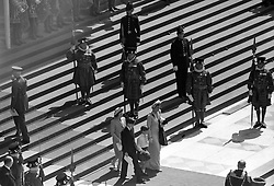 The steps of St Paul's Cathedral sees the Princess Marina, Duchess of Kent leave with her children after the Thanksgiving Service. Yeoman Warders from the tower of London line the steps.