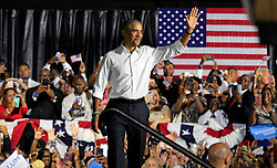 Former President Barack Obama campaigns alongside Florida's leading Democratic candidates in Miami at Ice Palace Films Studios on Friday, Nov. 2, 2018. (Al Diaz/Miami Herald/TNS)