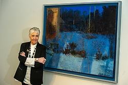 Pictured: Victoria Crowe OBE in front of Reflection and Light from Within<br /><br />Another Time, Another Place at The Scottish Gallery - an exhibition of works by renowned artist Victoria Crowe OBE which have inspired 12 poems by poet Christine De Luca<br /><br />Ger Harley   EEm 29 April 2021