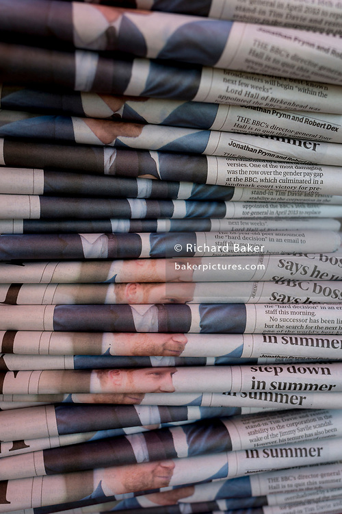 In the week that Prince Harry, Duke of Sussex renounced his HRH (His royal highness) title, to become more independent outside the royal family and with wife, Meghan Markle, his repeated face appears in the folded copies of Evening Standard newspapers on Piccadilly, on 20th January 2020, in London, England.