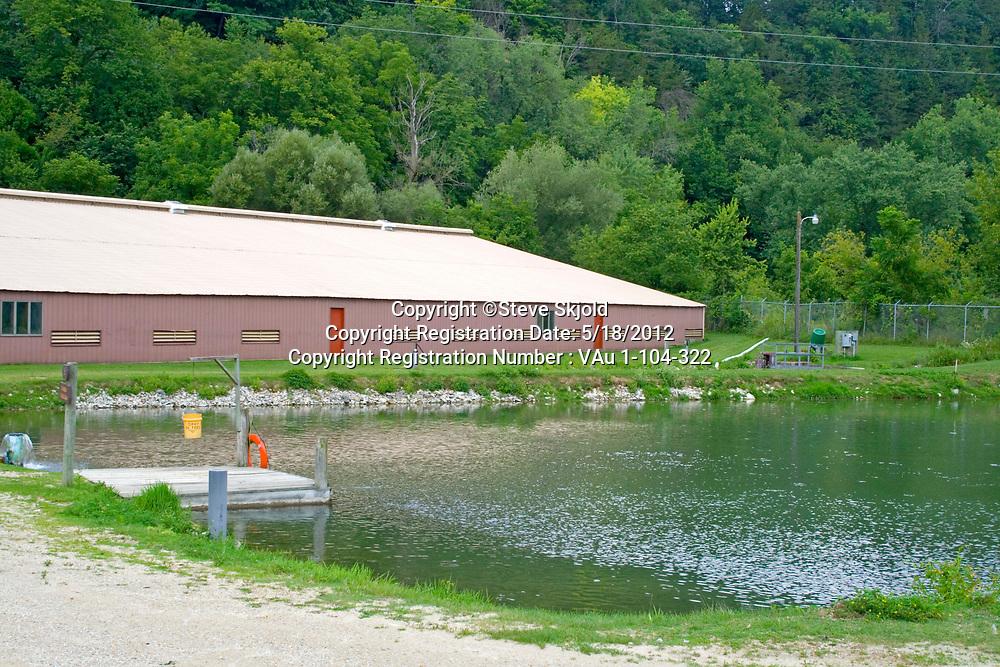 Lanesboro State Fish Hatchery facility and pond for rearing rainbow trout. Lanesboro Minnesota MN USA