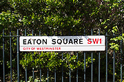Eaton Square in Belgravia. In a selected few boroughs of West London, wealth has changed over the last couple of decades. Traditionally wealthy parts of town, have developed into new affluent playgrounds of the super rich. With influxes of foreign money in particular from the Middle-East. The UK capital is home to more multimillionaires than any other city in the world according to recent figures. Boasting a staggering 4,224 'ultra-high net worth' residents - people with a net worth of more than $30million, or £19.2million.. London, England, UK.