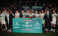 Rugby Union - 2017 Old Mutual Wealth Series (Autumn International) - England vs. Australia<br /> <br /> England team Captain Dylan Hartley and Nathan Hughes with the ' Cook Cup' , at Twickenham.<br /> <br /> COLORSPORT/ANDREW COWIE