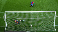LONDON, ENGLAND - OCTOBER 06: Christian Benteke of Crystal Palace take penalty shot during the Premier League match between Crystal Palace and Leicester City at Selhurst Park on April 28, 2018 in London, United Kingdom. (Photo by Sebastian Frej)