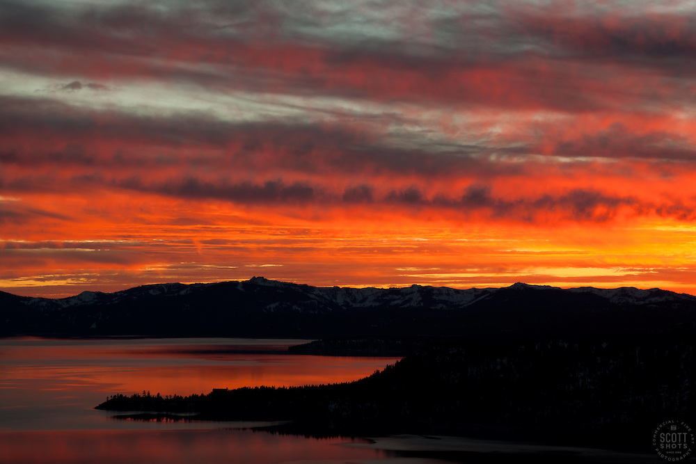 """""""Sunset at Lake Tahoe 18"""" - This orange and yellow sunset at Lake Tahoe was photographed from the vista point on Hwy  431, or Mount Rose Highway."""