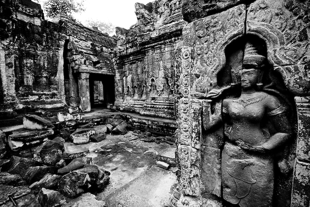 In 70s, Cambodian communist movements known as the khmer Rouge  cut off the head of statues and destoroyed them.