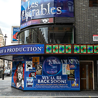 View of Shaftesbury Avenue Theatres;<br />Theatres in lockdown;<br />West End Theatreland, London, UK;<br />7th July 2020.<br /><br />© Pete Jones<br />pete@pjproductions.co.uk