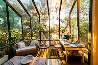 Sunroom in a home in Santa Barbara, California USA.