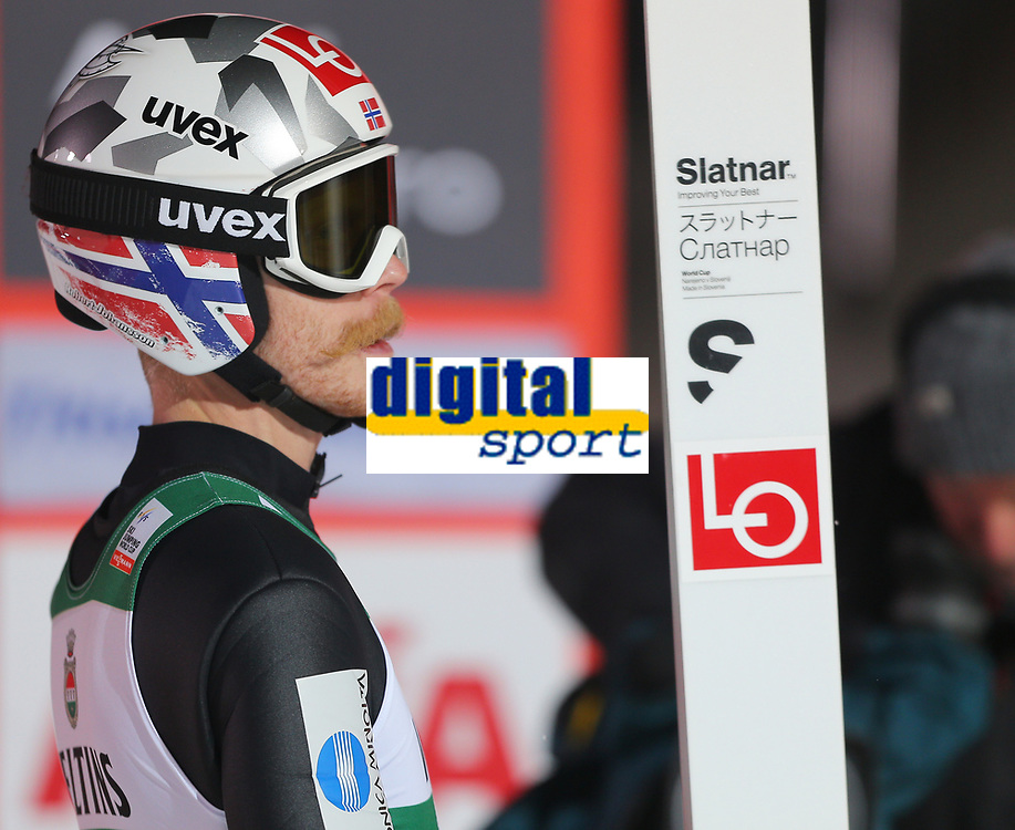 TITISEE-NEUSTADT,GERMANY,09.DEC.17 - NORDIC SKIING, SKI JUMPING - FIS World Cup, large hill, team event men. Image shows Robert Johansson (NOR). <br /> Norway only