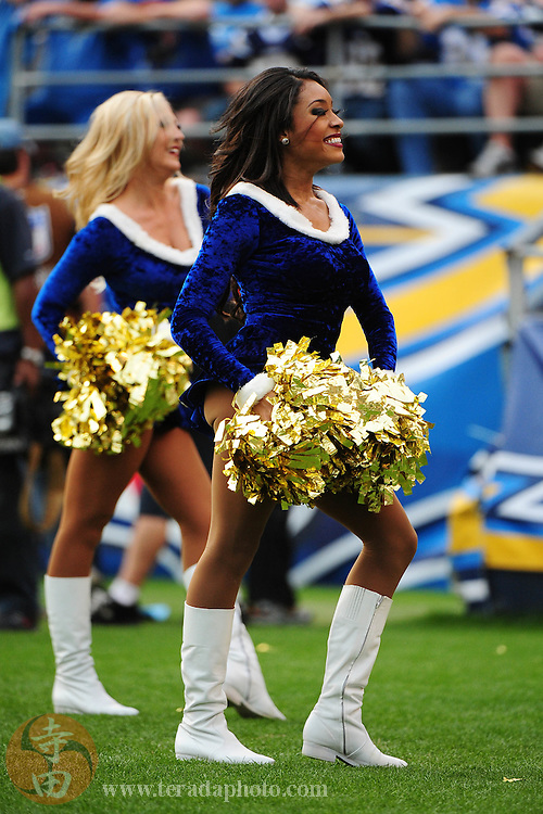 December 20, 2009; San Diego, CA, USA; San Diego Charger Girls cheerleader Marisa Douglas performs during the third quarter against the Cincinnati Bengals at Qualcomm Stadium. The Chargers defeated the Bengals 27-24. Mandatory Credit: Kyle Terada-Terada Photo