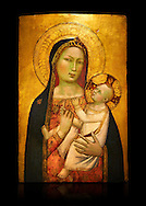 Gothic altarpiece of Madonna and Child by Bernardo Daddi, circa 1340-1345, tempera and gold leaf on wood.  National Museum of Catalan Art, Barcelona, Spain, inv no: MNAC  212806. Against a black background. . .<br /> <br /> If you prefer you can also buy from our ALAMY PHOTO LIBRARY  Collection visit : https://www.alamy.com/portfolio/paul-williams-funkystock/gothic-art-antiquities.html  Type -     MANAC    - into the LOWER SEARCH WITHIN GALLERY box. Refine search by adding background colour, place, museum etc<br /> <br /> Visit our MEDIEVAL GOTHIC ART PHOTO COLLECTIONS for more   photos  to download or buy as prints https://funkystock.photoshelter.com/gallery-collection/Medieval-Gothic-Art-Antiquities-Historic-Sites-Pictures-Images-of/C0000gZ8POl_DCqE