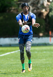 April 3, 2018 - Hong Kong, Hong Kong SAR, CHINA - HONG KONG,HONG KONG SAR,CHINA:April 3rd 2018. The USA Rugby team conduct a training session at So Kon Po recreation ground ahead of their Hong Kong Rugby 7's matches.Winger Perry Baker passes the ball during passing drills (Credit Image: © Jayne Russell via ZUMA Wire)
