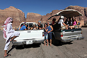European tourists on a desert tour in Jordan, Wadi Rum