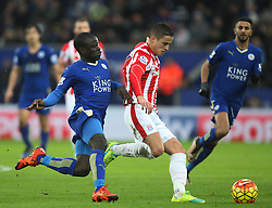 Ngolo Kante of Leicester City (L) and Ibrahim Afellay of Stoke City in action - Mandatory byline: Jack Phillips/JMP - 23/01/2016 - FOOTBALL - King Power Stadium - Leicester, England - Leicester City v Stoke City - Barclays Premier League